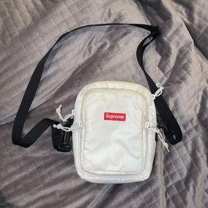 Supreme white nylon crossbody bag